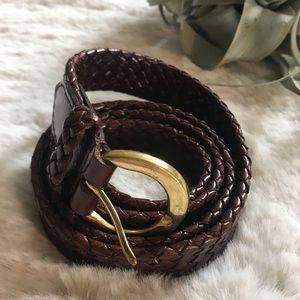 talbots | braided leather belt brown